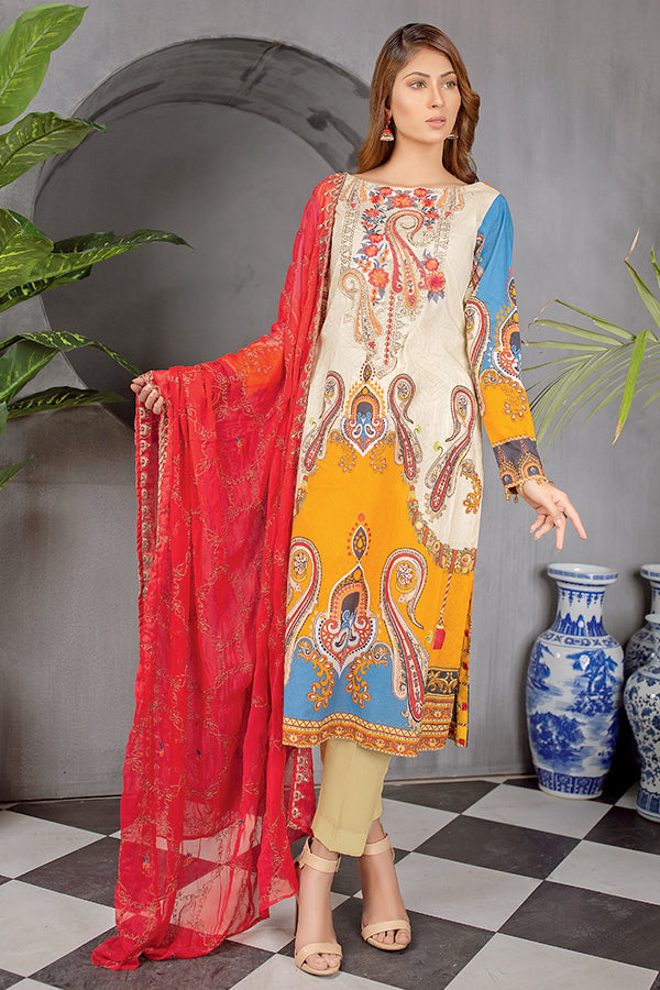 Light Peach - Digital Printed Embroidered Lawn With Chiffon Dupatta