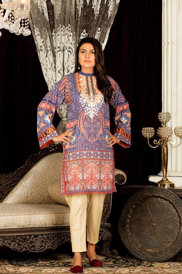 Spruce - Digital Embroidered Stitched Lawn Kurti