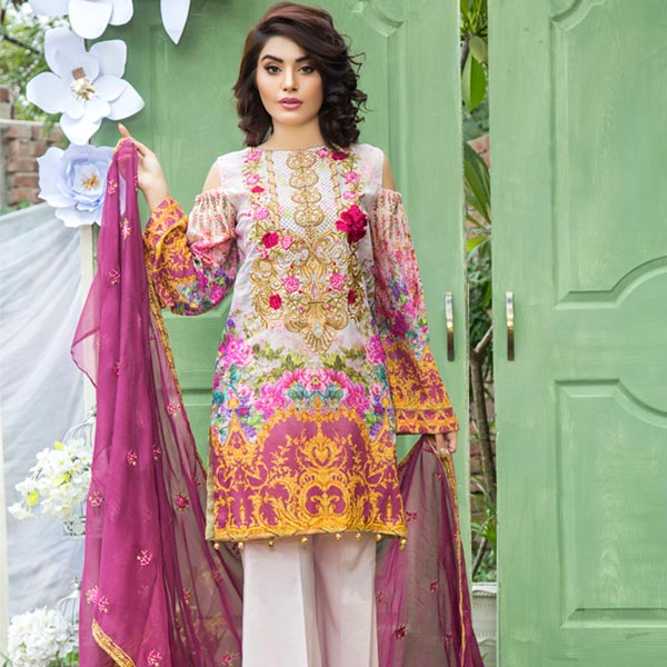 BABY PINK - DIGITAL PRINTED & EMBROIDERED LAWN - 3 PIECE