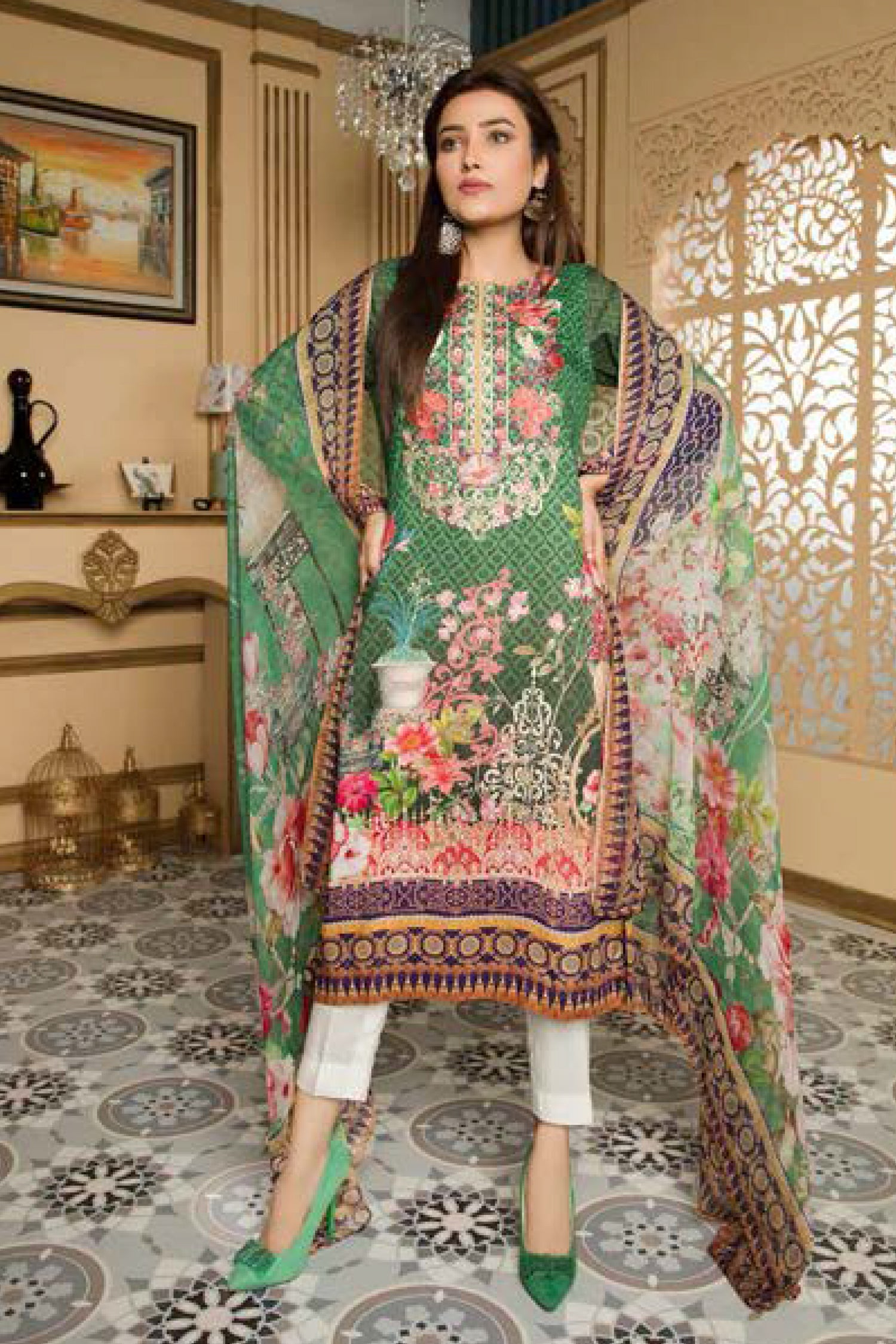 Glance - Digital Printed and Embroidered Linen 3PC