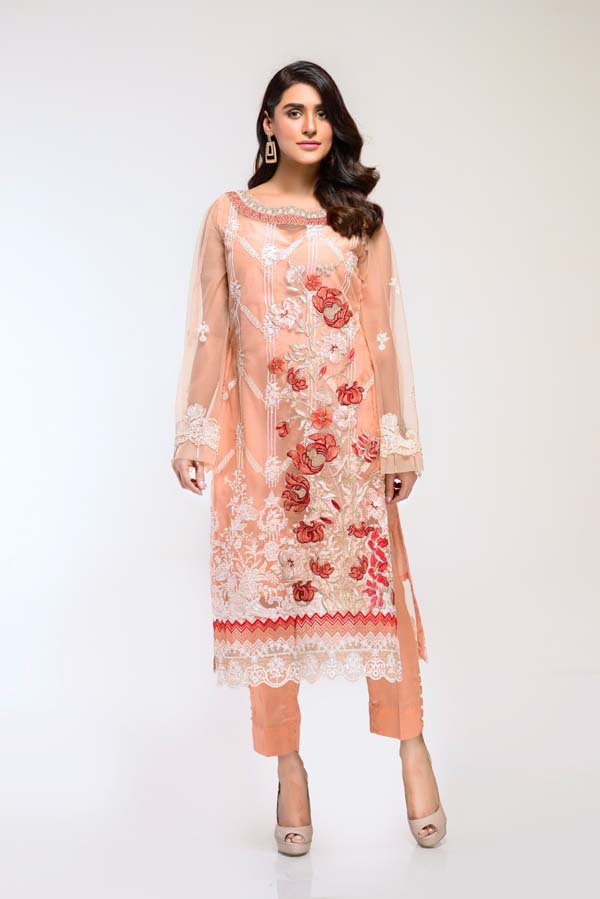 Desert sand -  Embroidered Net 2 Piece (Unstitch)
