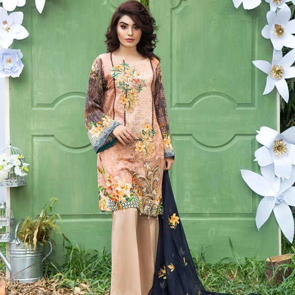 GREY - DIGITAL PRINTED & EMBROIDERED LAWN - 3 PIECE
