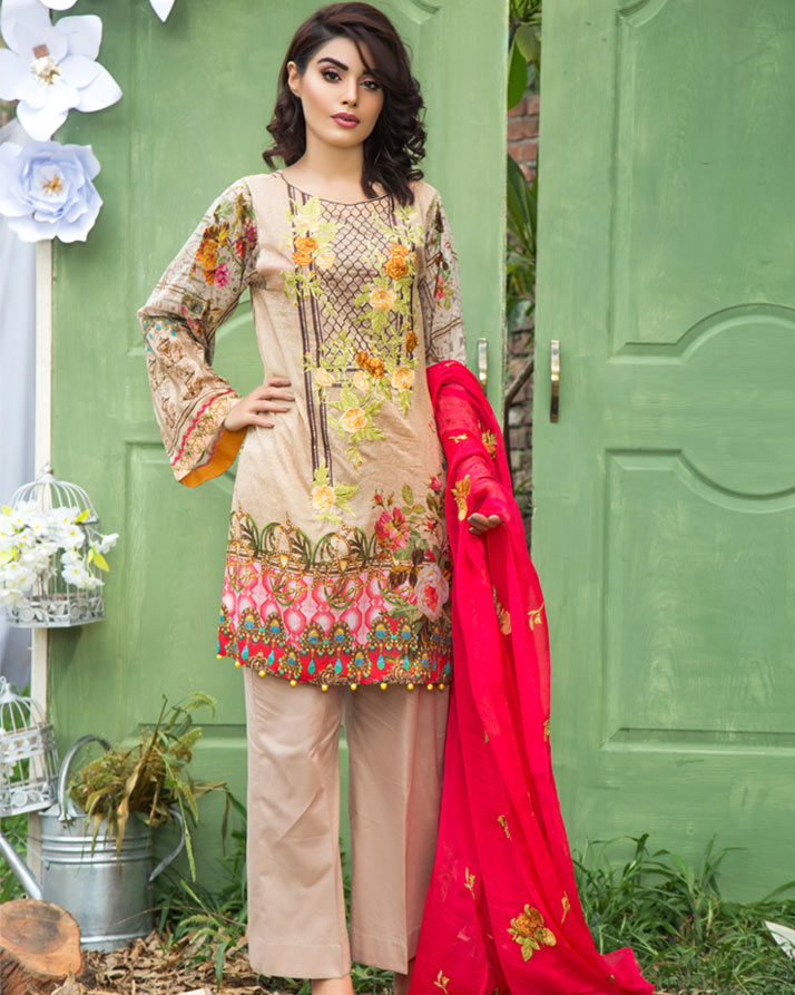 BROWN - DIGITAL PRINTED & EMBROIDERED LAWN - 3 PIECE