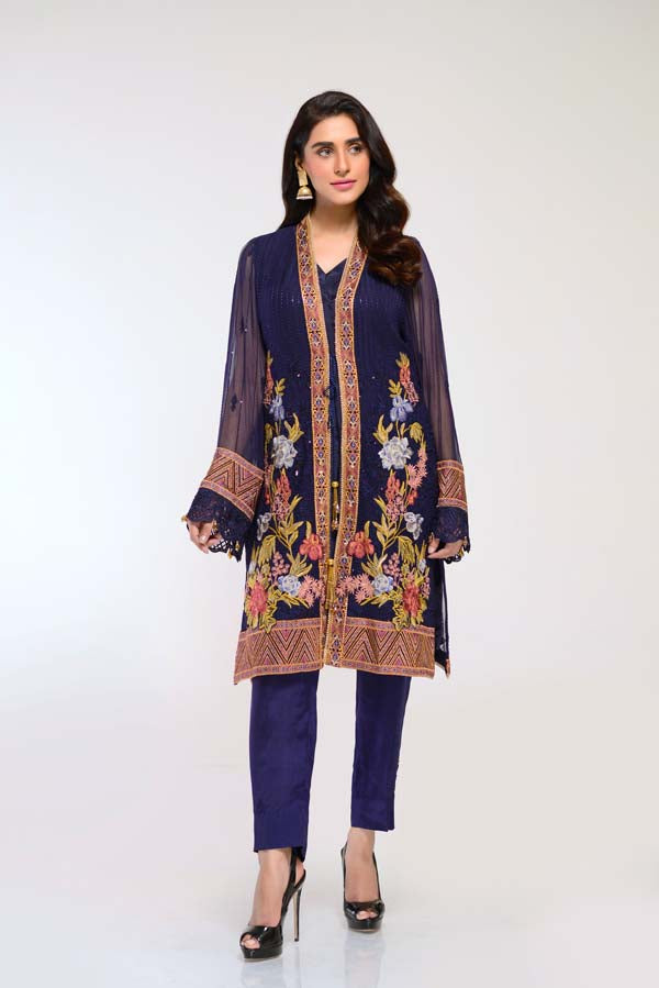 Oxford Blue -  Embroidered Chiffon 2 Piece (Unstitch)