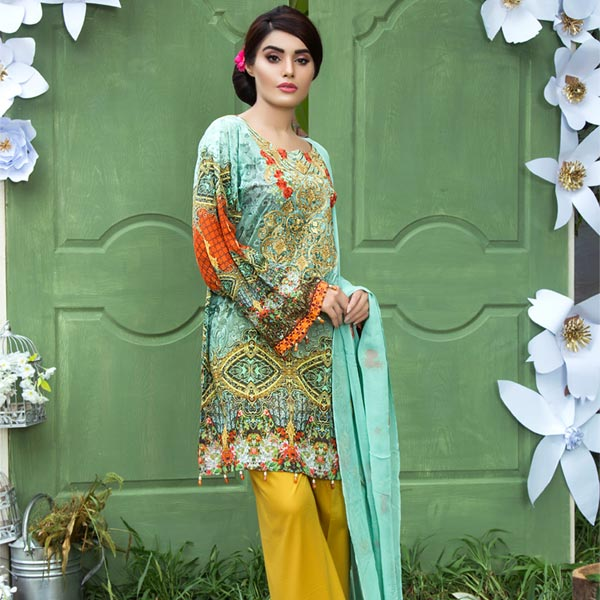 LIGHT GREEN - DIGITAL PRINTED & EMBROIDERED LAWN - 3 PIECE