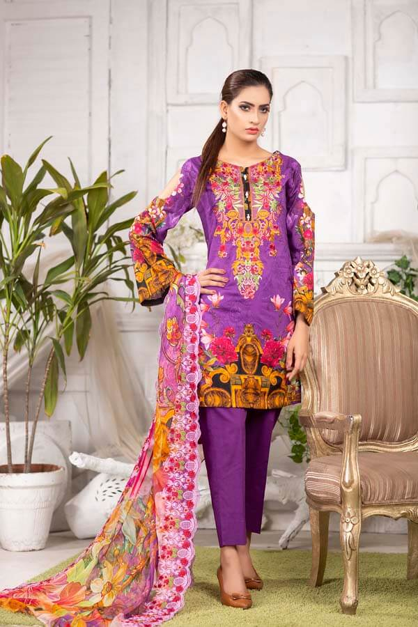 AFFAIR - EMBROIDERED WITH DIGITAL PRINTED LAWN - 3 PIECE