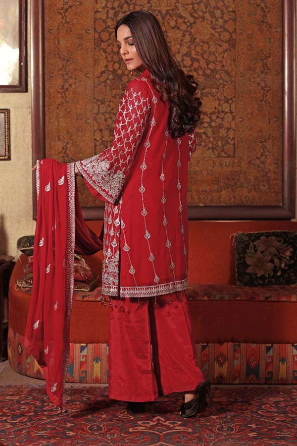 Coral Berry - EMBROIDERED CHIFFON UNSTITCHED 3 PIECE