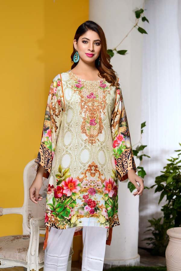 Garden Glory - Digital Embroidered & Hand Embellished Stitched Kurti