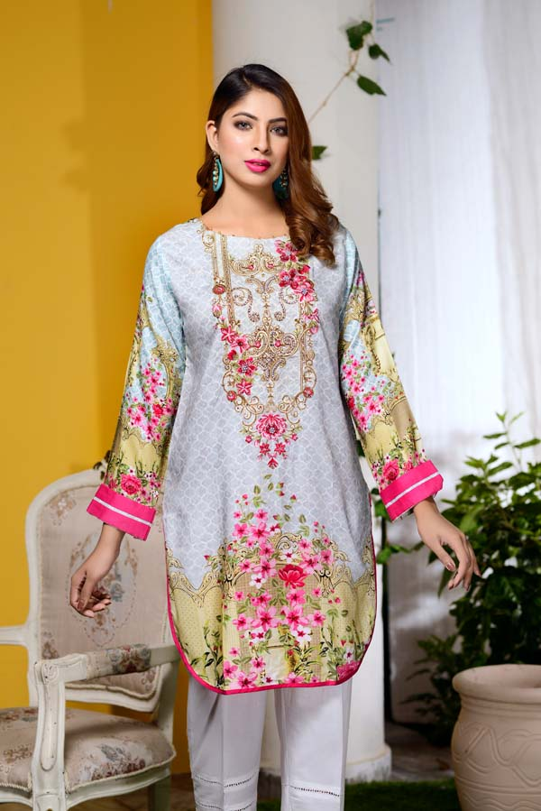 Assent - Digital Embroidered & Hand Embellished Stitched Kurti