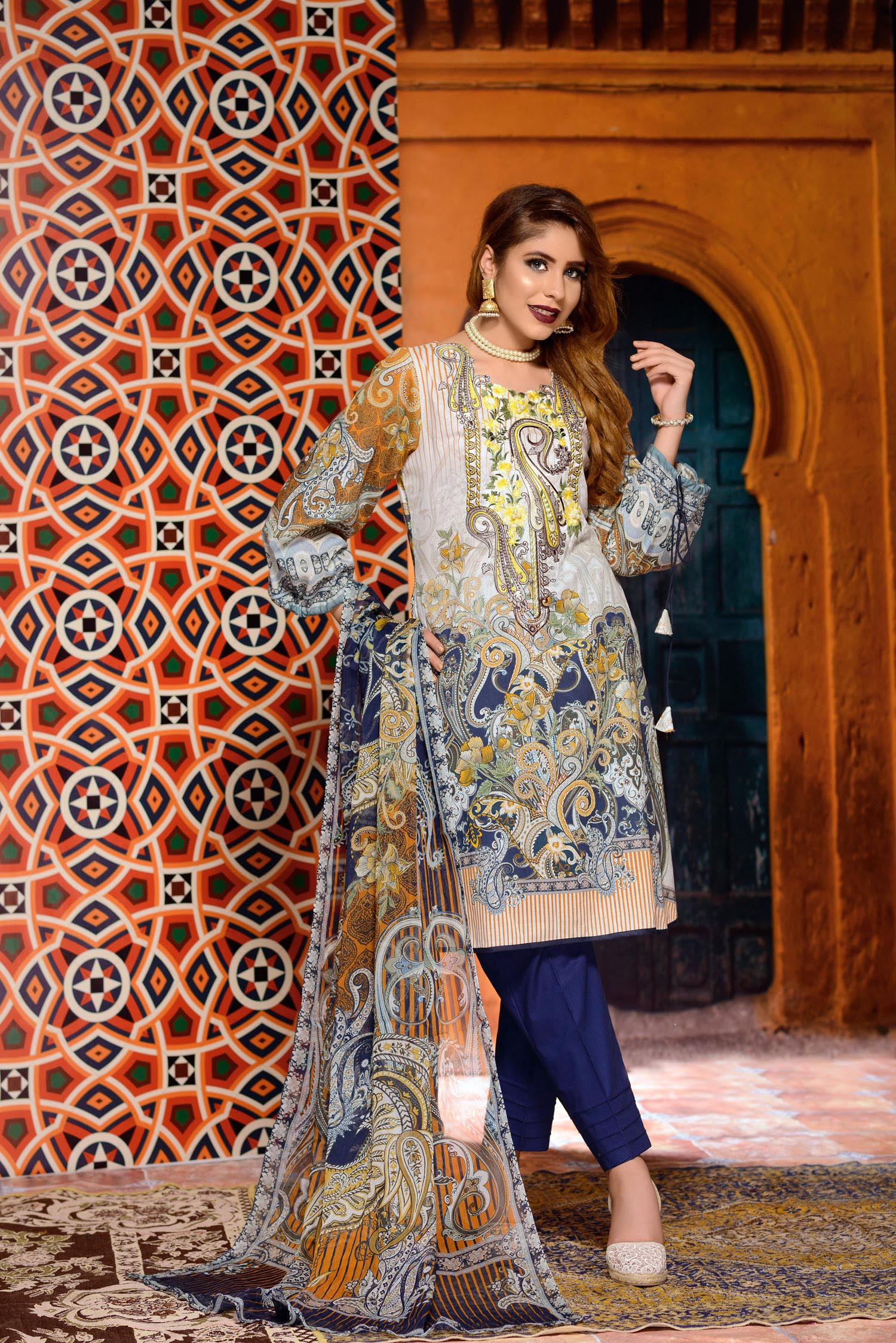 Anwyn - Digital Printed and Embroidered Lawn 3PC