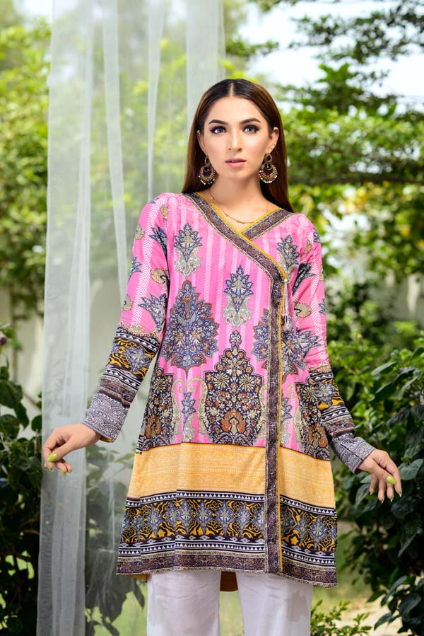 Carnation Pink - Digital Printed Unstitch Lawn Kurti
