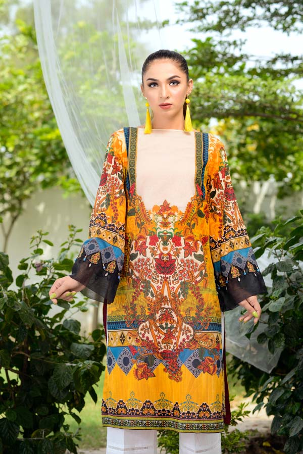 Fuel Yellow - Digital Printed Unstitch Lawn Kurti