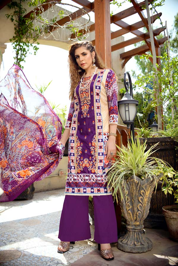 Banded Opal - Printed and Embroidered Lawn