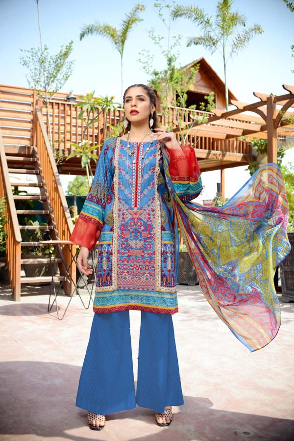 Endura Emerald - Printed and Embroidered Lawn
