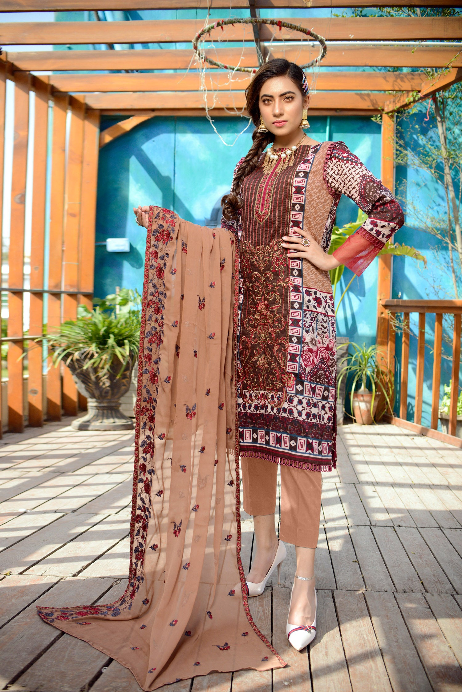 Beige - Printed and Embroidered Lawn 3PC