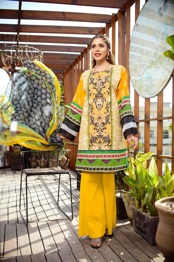 Fluorspar - Printed and Embroidered Lawn