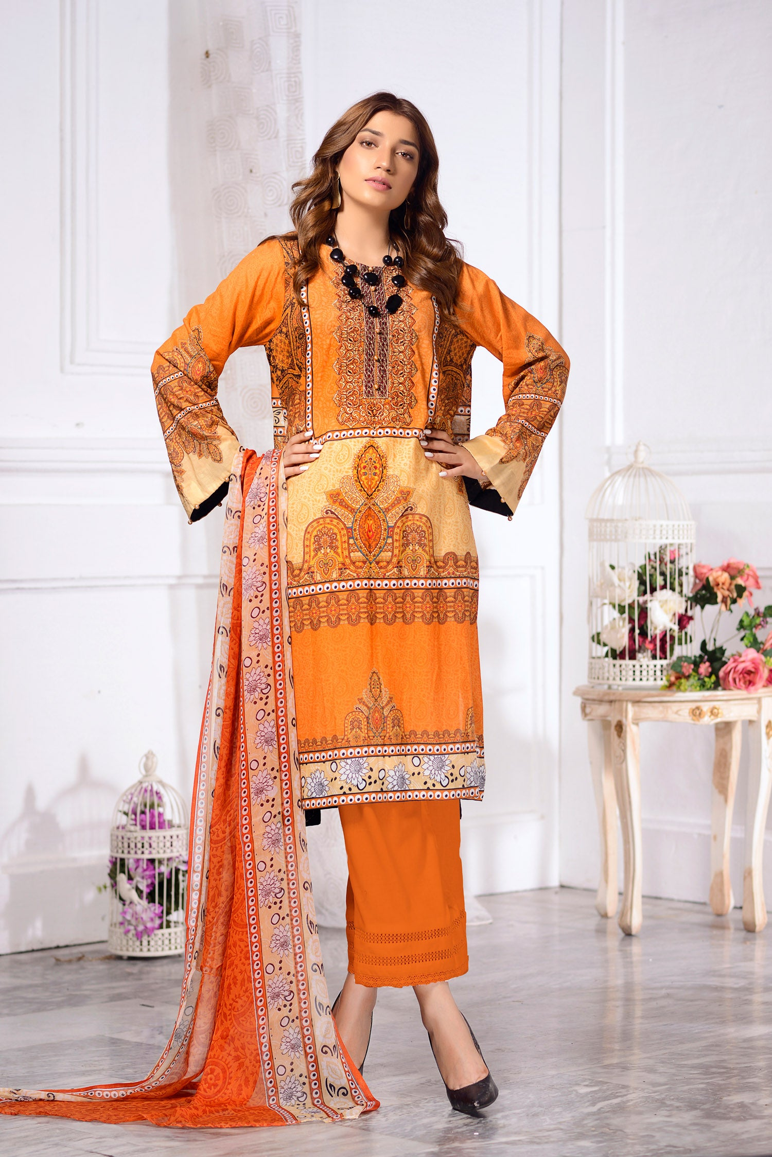 Zinnia- DIGITAL PRINTED & EMBROIDERED LAWN 3PC