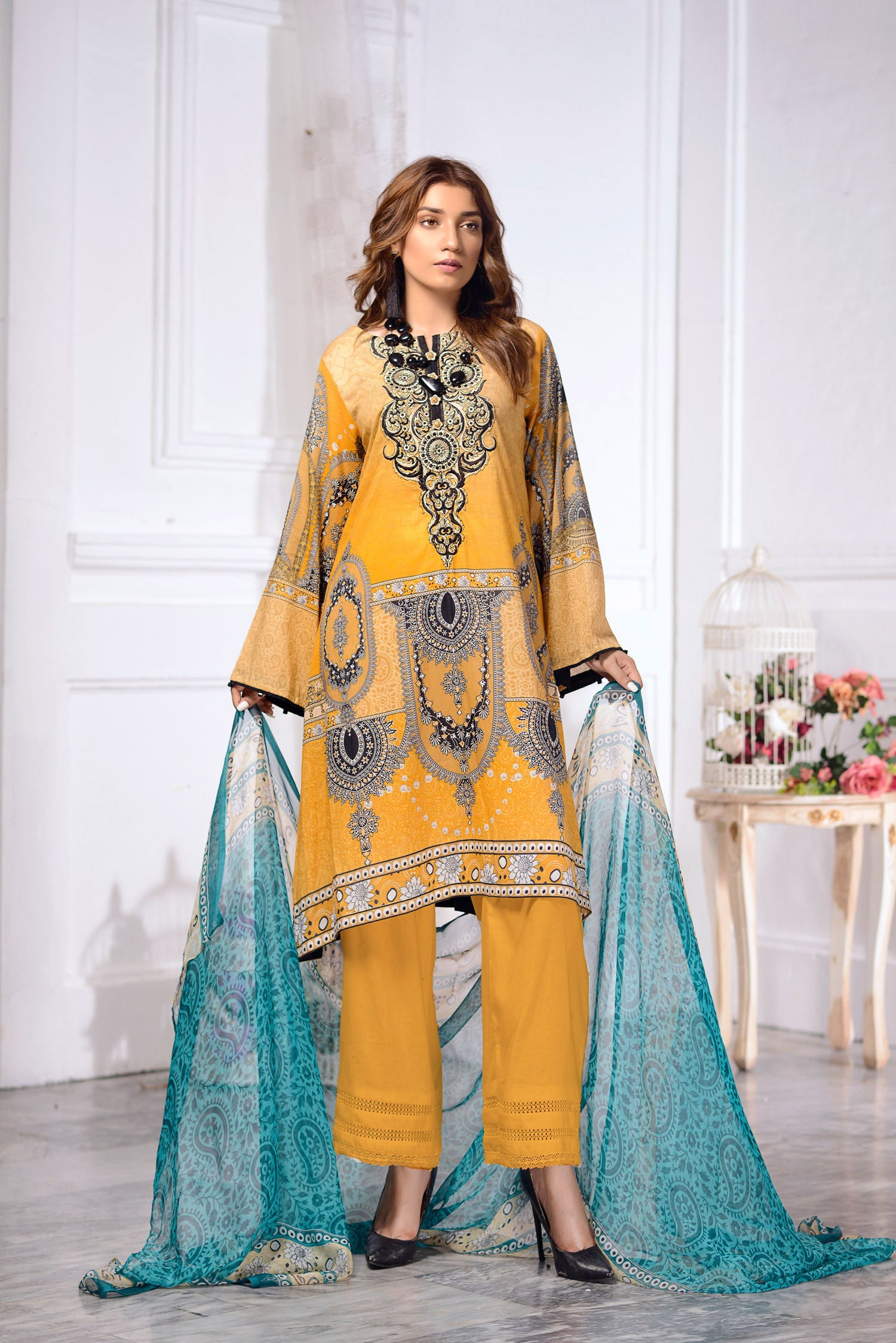 Marigold - DIGITAL PRINTED & EMBROIDERED LAWN 3PC