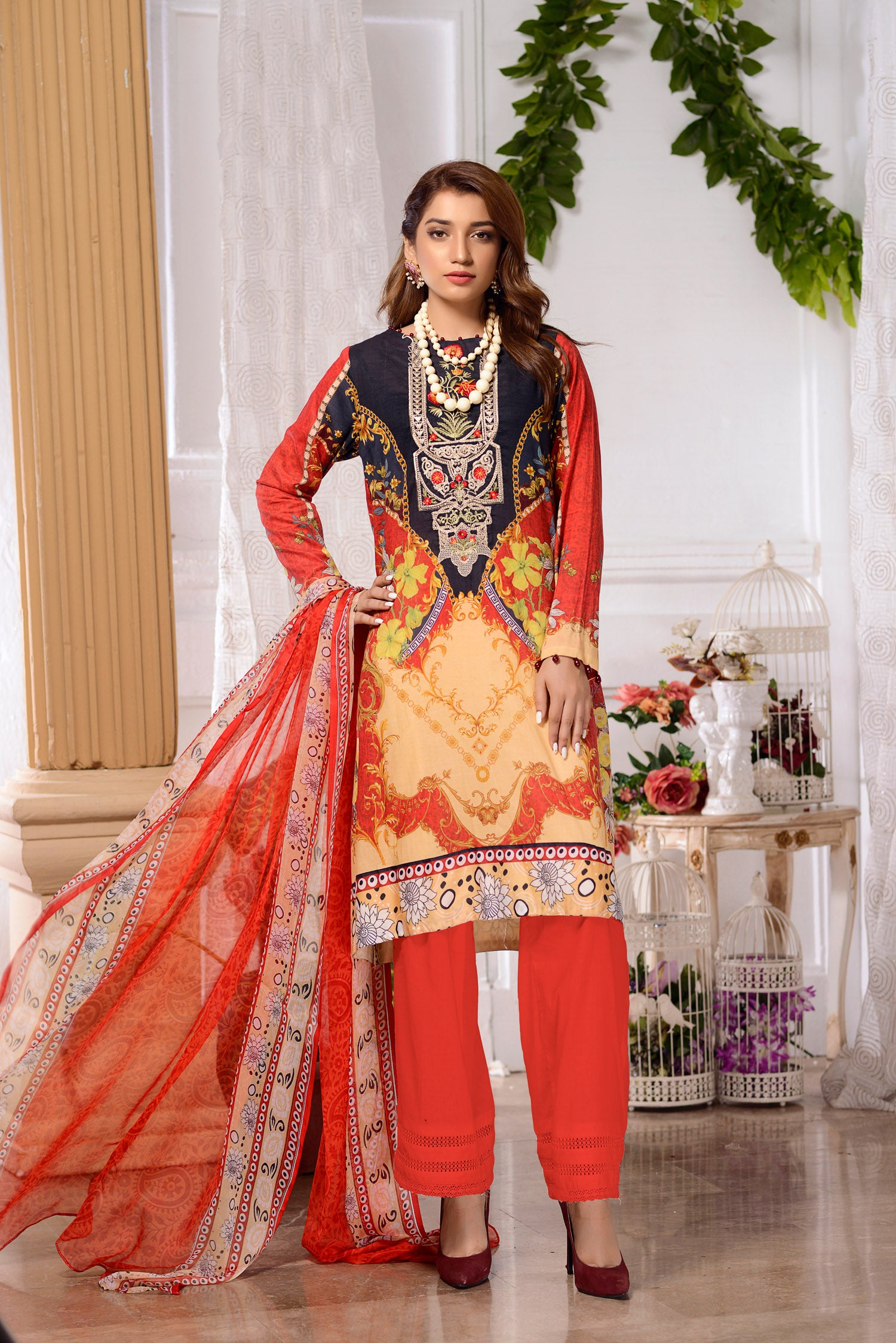 Zinnia  - DIGITAL PRINTED & EMBROIDERED LAWN 3PC