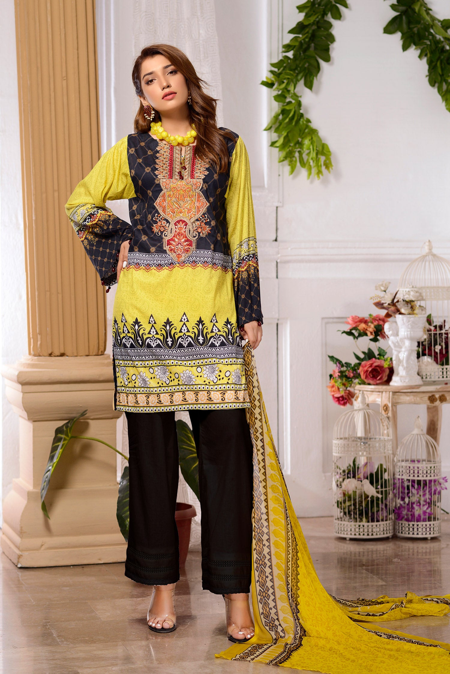 Rosa  - DIGITAL PRINTED & EMBROIDERED LAWN 3PC