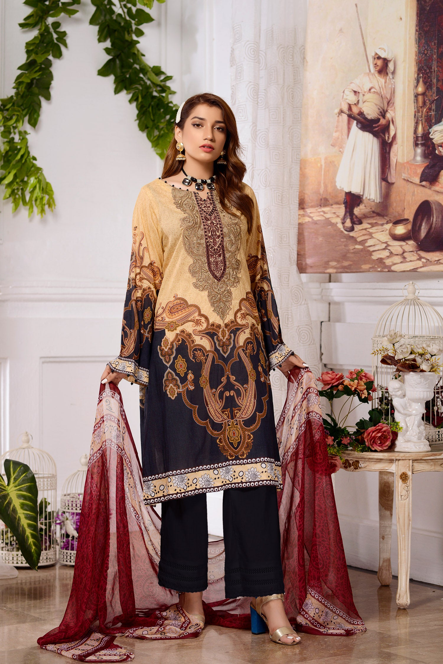 Calla - DIGITAL PRINTED & EMBROIDERED LAWN 3PC