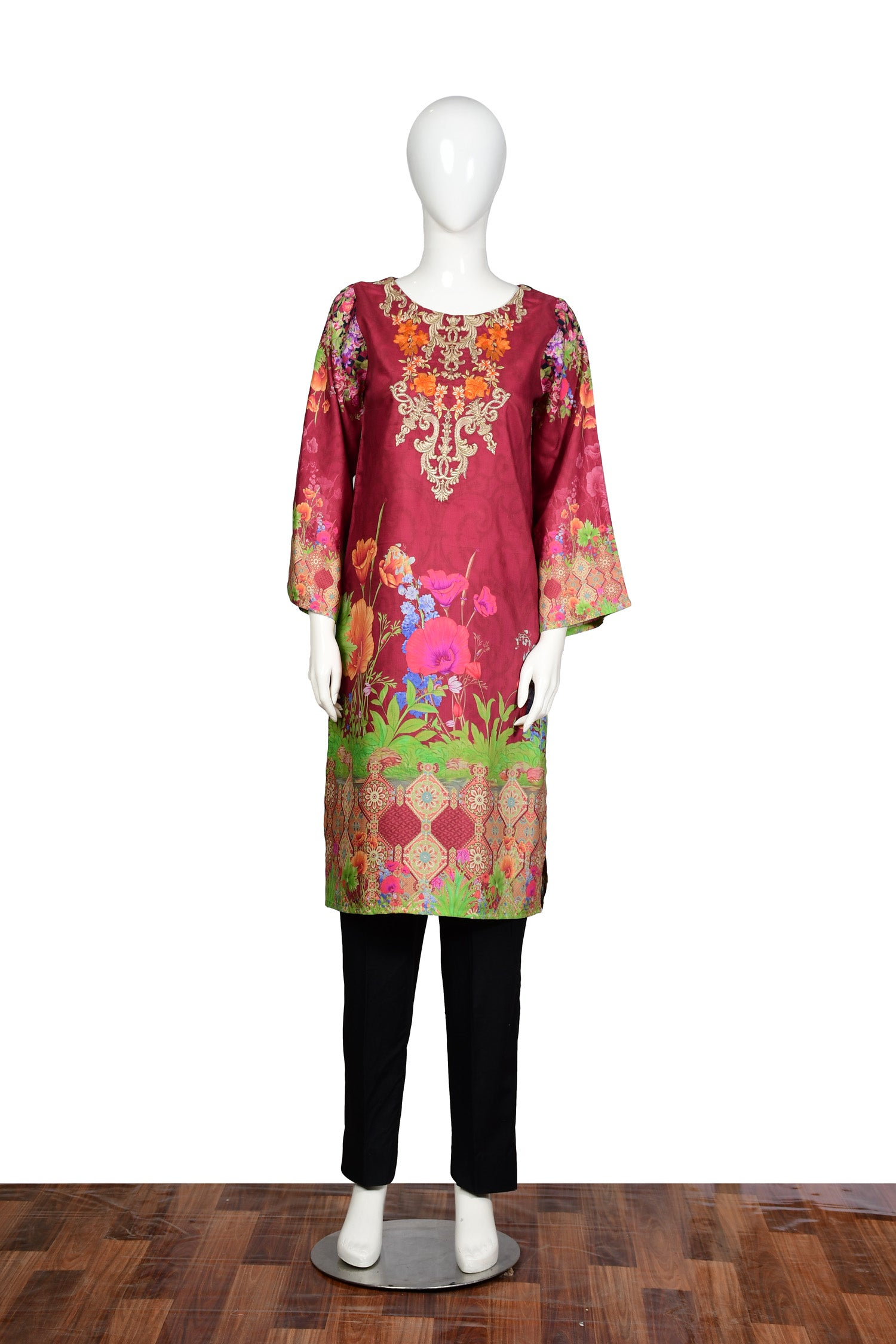 Swin Flower - Embroidered Viscose Unstitch Kurti