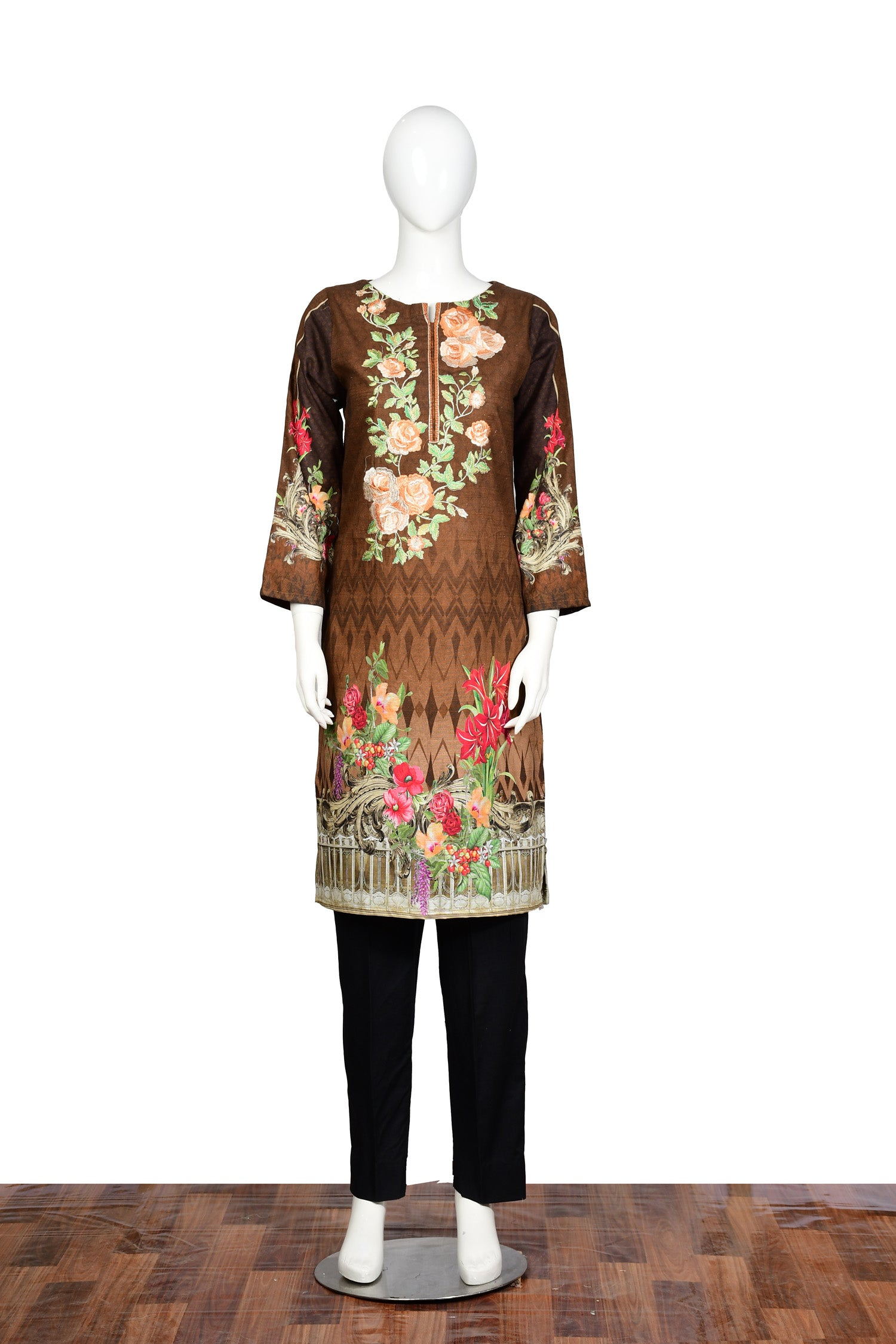 Browsin - Embroidered Khaddar Unstitch Kurti