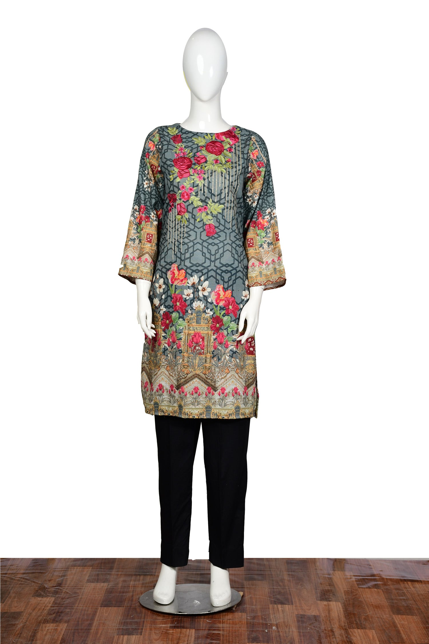 Aqua - Embroidered Khaddar Unstitch Kurti
