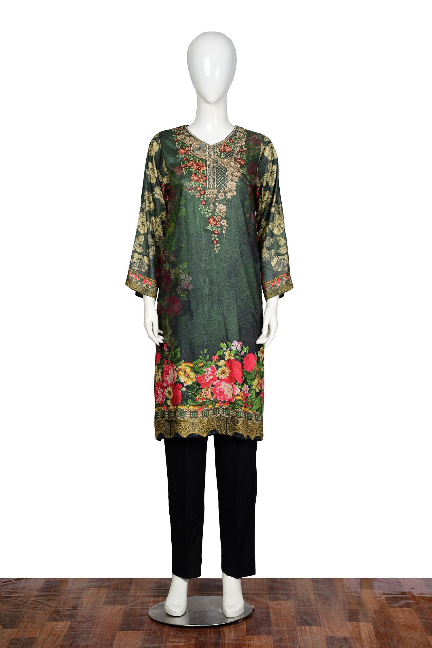 Grass Green - Embroidered Linen Unstitch Kurti