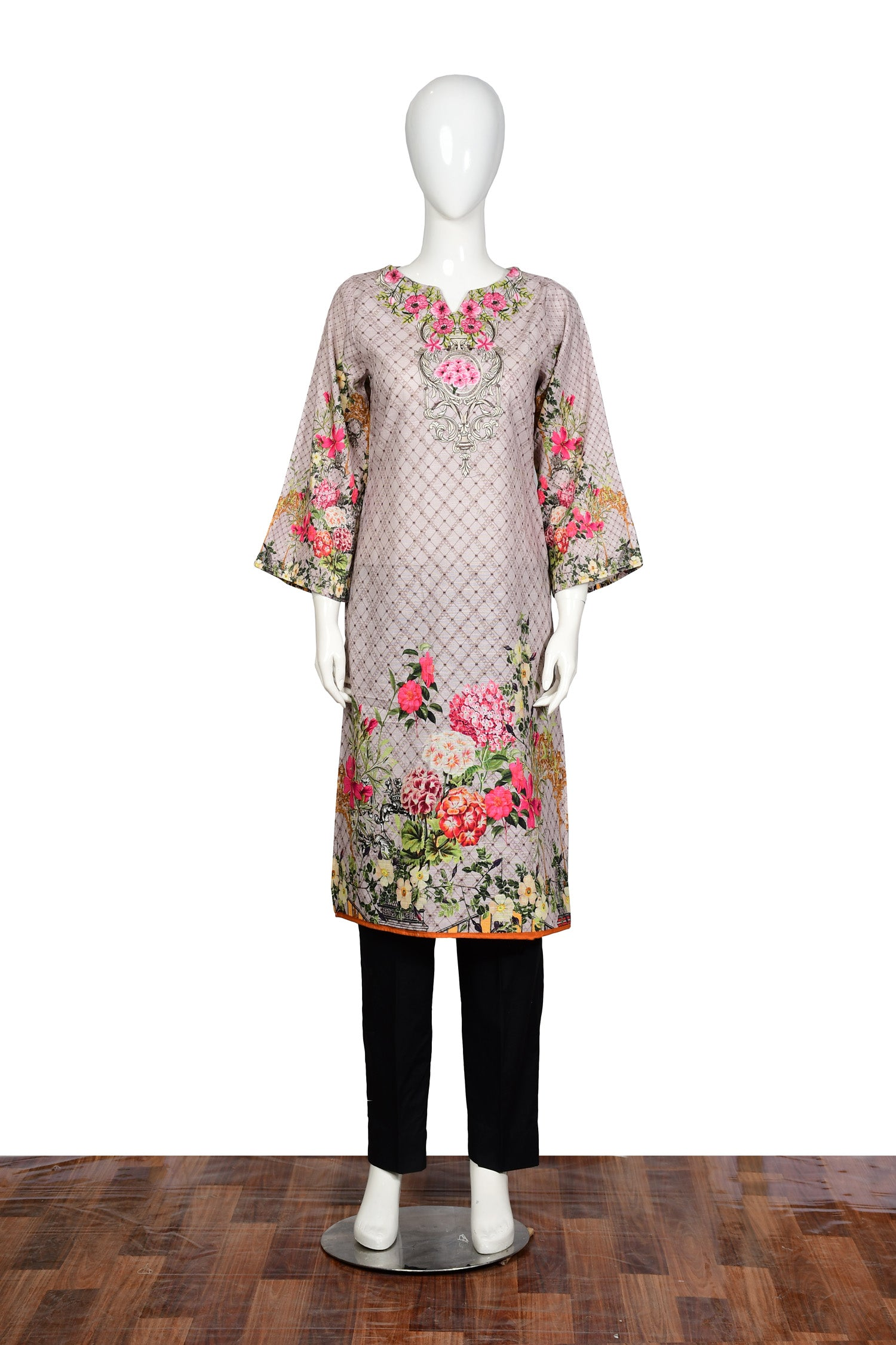 Silk Ray - Embroidered Khaddar Unstitch Kurti