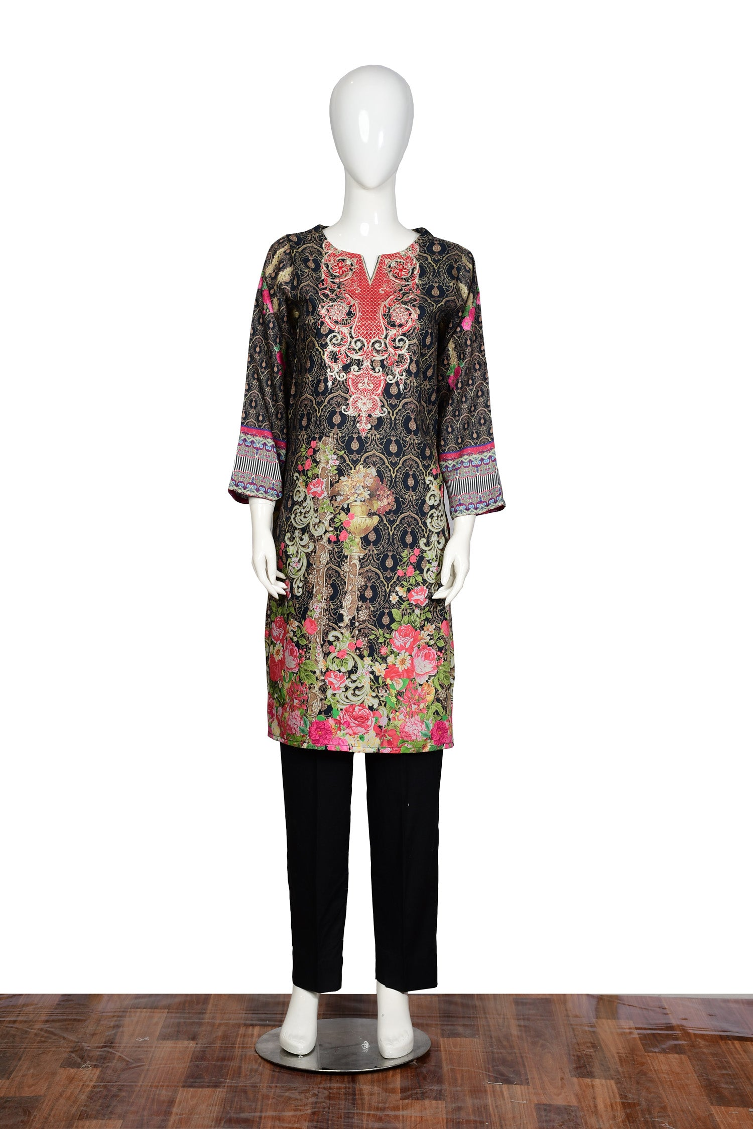Mix Black - Embroidered Viscose Unstitch Kurti