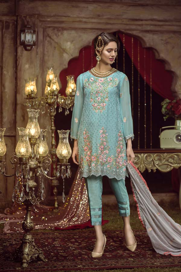 DOWNY - EMBROIDERED CHIFFON UNSTITCHED 3 PIECE