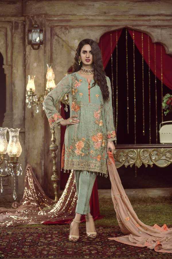 ENVY - EMBROIDERED CHIFFON UNSTITCHED 3 PIECE