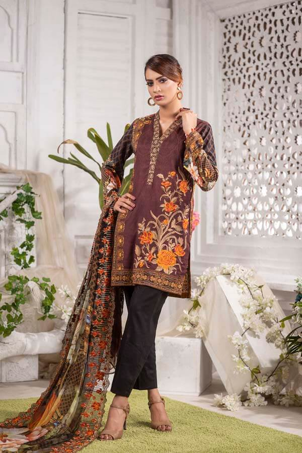 FERRA - EMBROIDERED WITH DIGITAL PRINTED LAWN - 3 PIECE