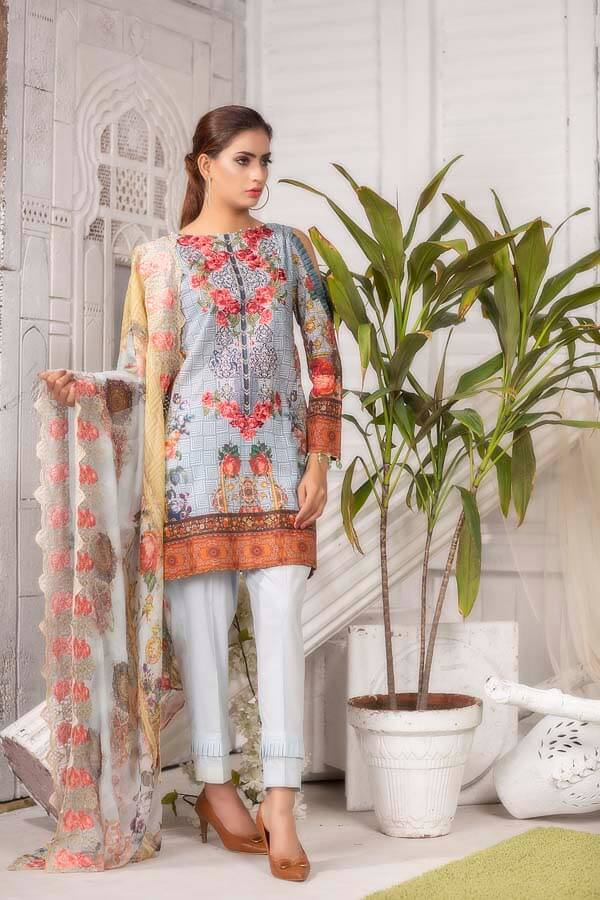 FRENCH GREY - EMBROIDERED WITH DIGITAL PRINTED LAWN - 3 PIECE