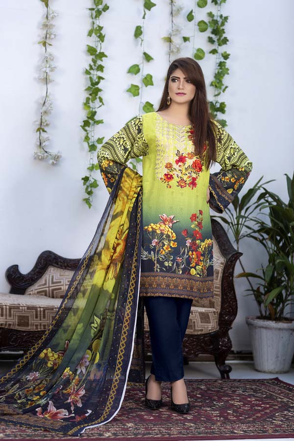 Spruce - Digital Printed & Embroidered Karandi 3PC