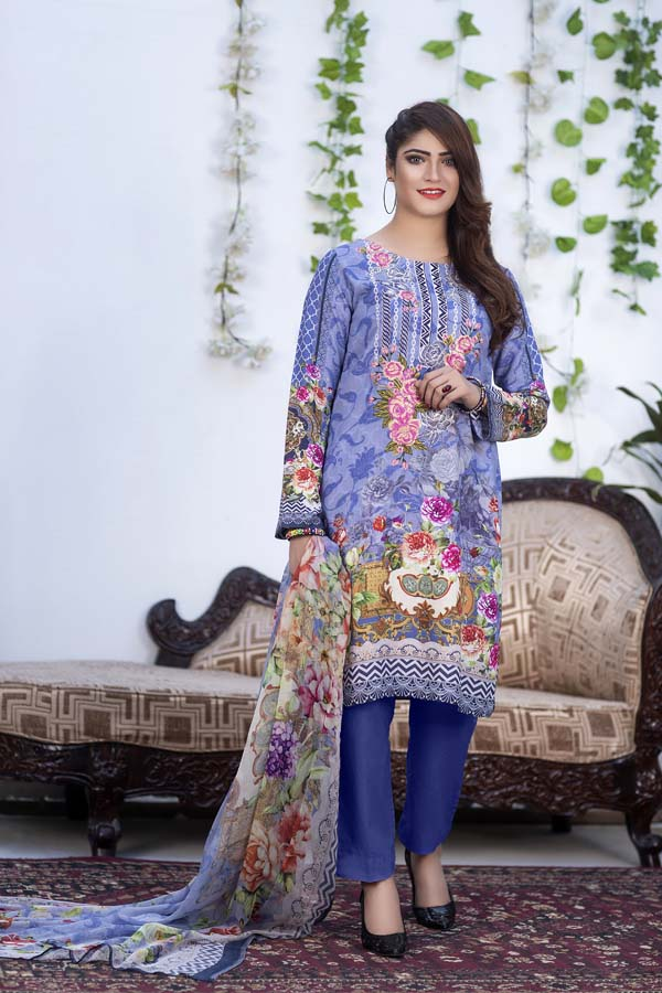 Auburn - Digital Printed & Embroidered Karandi 3PC