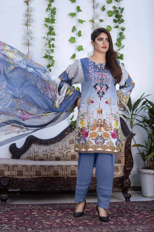 Azure - Digital Printed & Embroidered Karandi 3PC