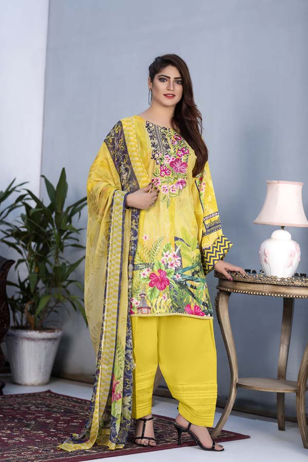 Daphne - Digital Printed & Embroidered Karandi 3PC
