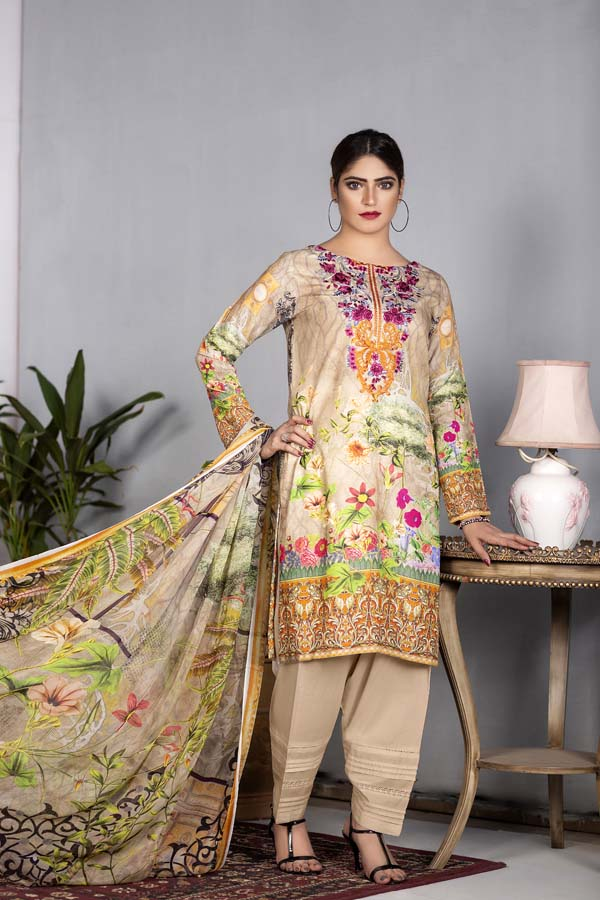 Ember - Digital Printed & Embroidered Karandi 3PC