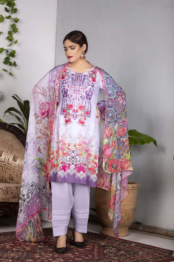 Ivy - Digital Printed & Embroidered Karandi 3PC