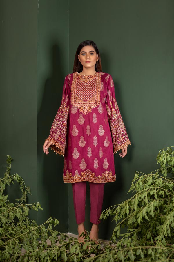 Royal Red - Jacquard Embroidered Unstitch 2 Piece