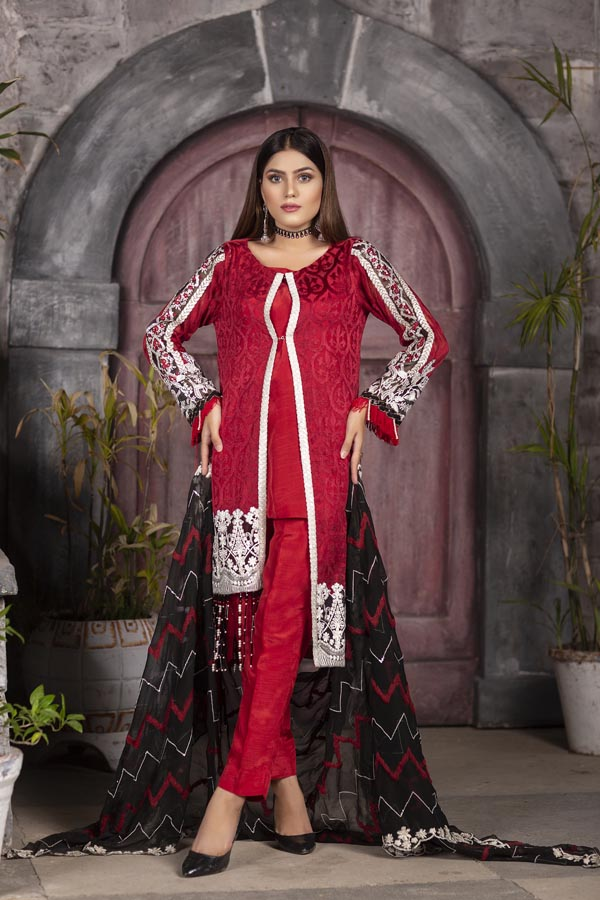 Cherry - EMBROIDERED CHIFFON UNSTITCHED 3 PIECE