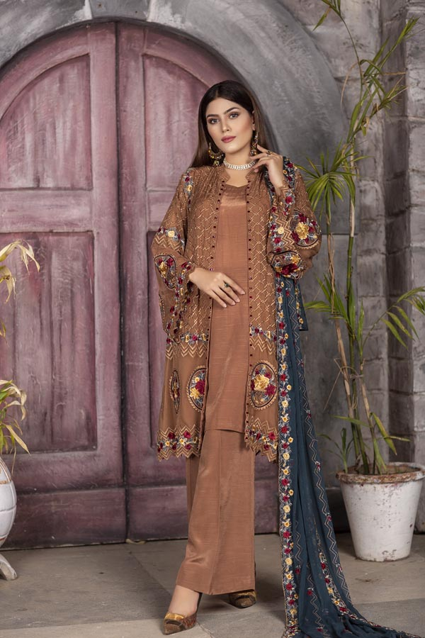 Umber - EMBROIDERED CHIFFON UNSTITCHED 3 PIECE