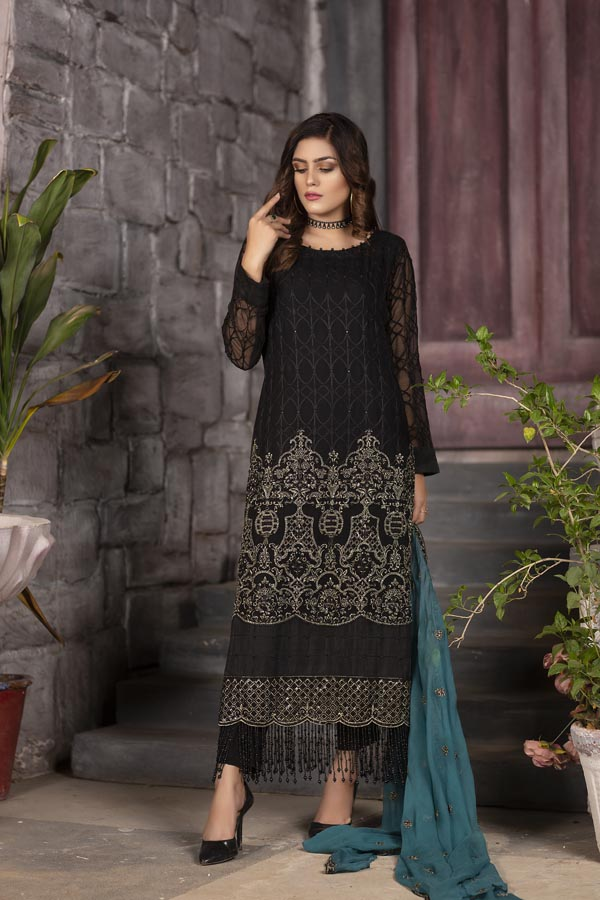Raven - EMBROIDERED CHIFFON UNSTITCHED 3 PIECE