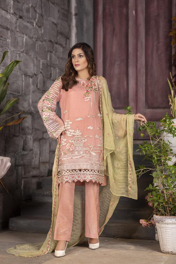 Peony - EMBROIDERED CHIFFON UNSTITCHED 3 PIECE