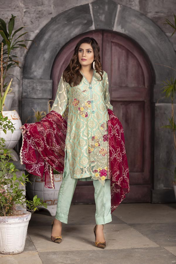 Teal - EMBROIDERED CHIFFON UNSTITCHED 3 PIECE