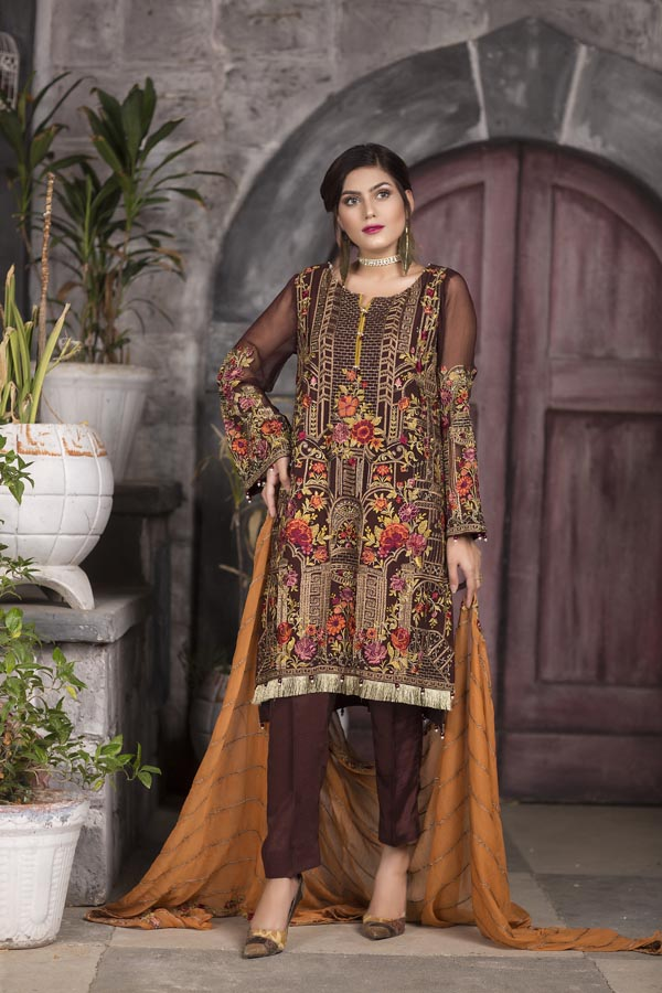 Sepia - EMBROIDERED CHIFFON UNSTITCHED 3 PIECE