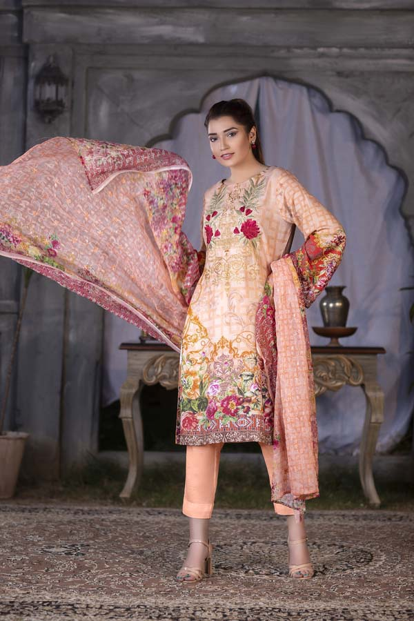 Light Apricot Digital Printed & Embroidered Karandi 3PC