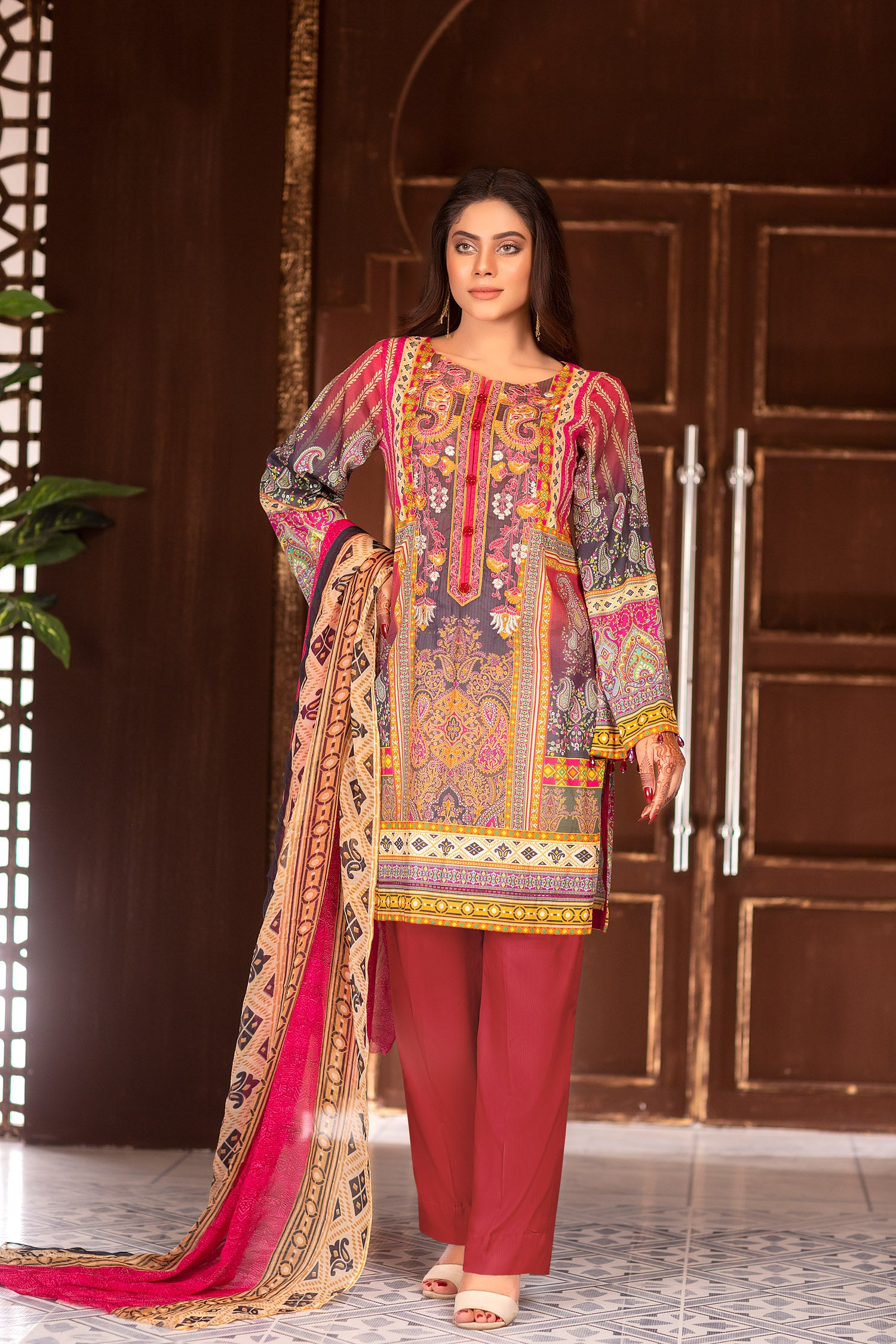 Rectory - Digital Printed & Embroidered Lawn Unstitch